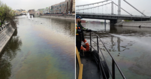 У памятника Петру I на Водоотводном канале появилось огромное масляное пятно