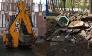При благоустройстве у Донского монастыря активисты нашли каменное ядро XVI века
