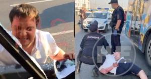 На Зубовском бульваре самокатчик напал на автобус и покусал полицейского