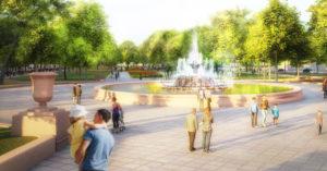 После благоустройства Репинский сквер на Балчуге будет как в 1940-х. Но с плиткой
