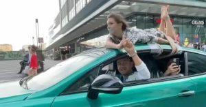 Блогер Сергей Косенко провез связанную девушку по «Москва-Сити» на крыше автомобиля