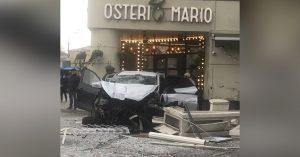 На Баррикадной водитель пронесся по тротуару, чудом никого не задев, и врезался в ресторан