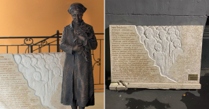 Памятник, открытый в «Сити» послами трех стран, найден разбитым в подворотне в Хамовниках