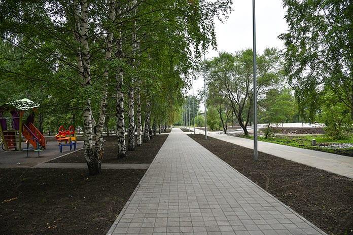 Реконструкция сквера «Шахтер» в Бабанаково, июль 2020