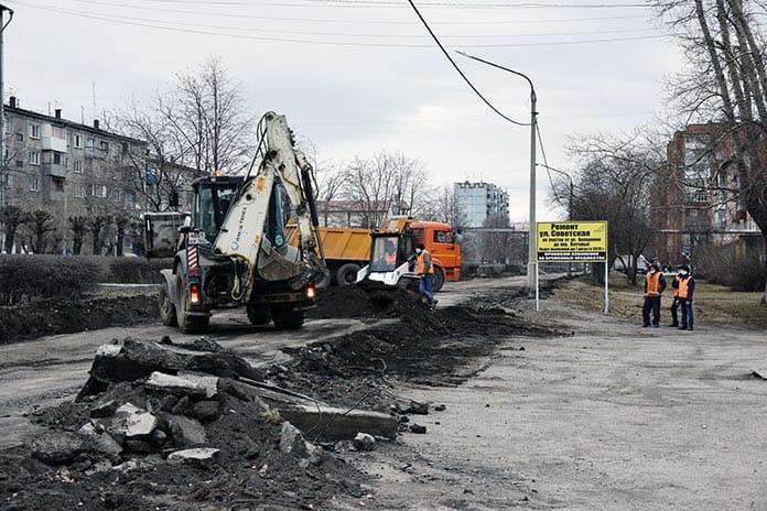 Реконструкция улицы Советской в Белово, май 2020