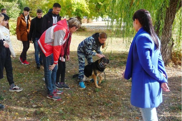 Кинологи показали балаковским студентам навыки служебной овчарки