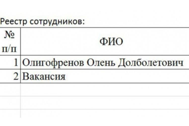 Администрация района прислала шаблон пропуска на имя Оленя Долболетовича Олигофренова