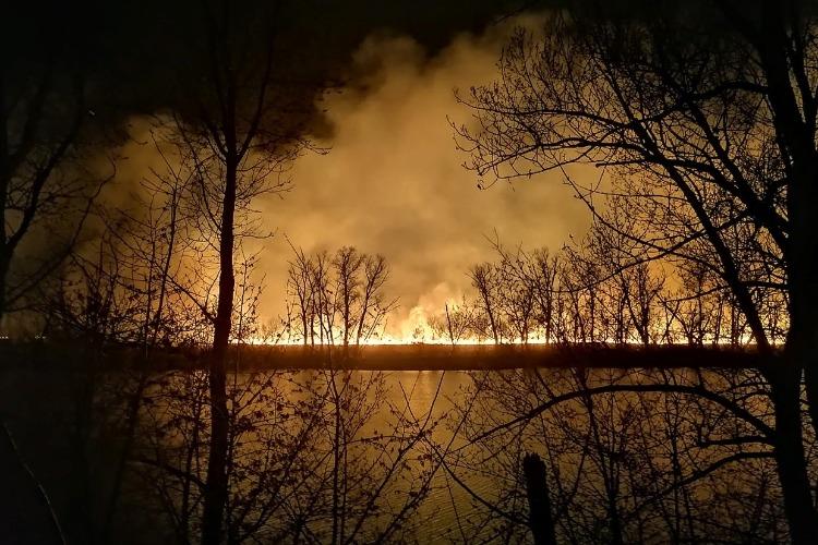 Под Балаковом ночью тушили крупный очаг возгорания камыша
