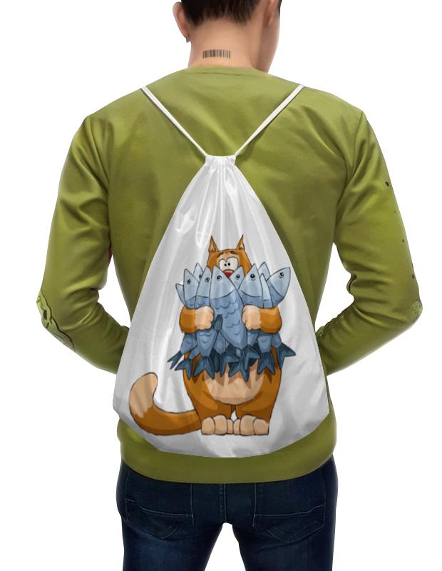 Printio Рюкзак-мешок с полной запечаткой Кот с рыбой.