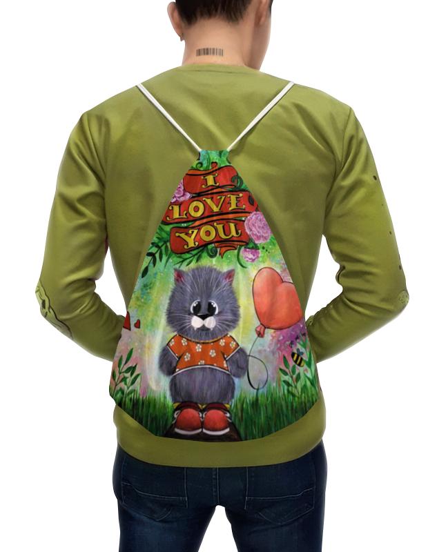 Фото - Printio Рюкзак-мешок с полной запечаткой Кот с шариком printio рюкзак мешок с полной запечаткой грачи прилетели алексей саврасов