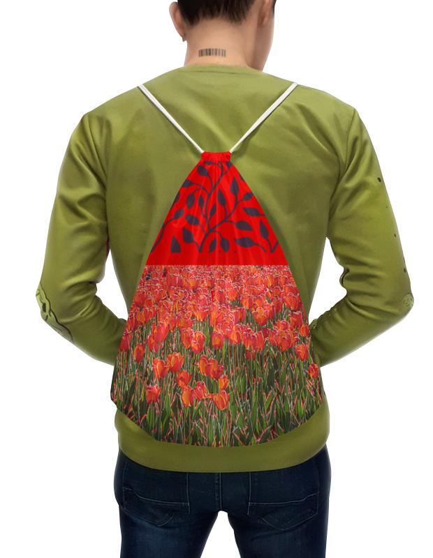 Фото - Printio Рюкзак-мешок с полной запечаткой Красные тюльпаны. printio рюкзак мешок с полной запечаткой сине красные краски