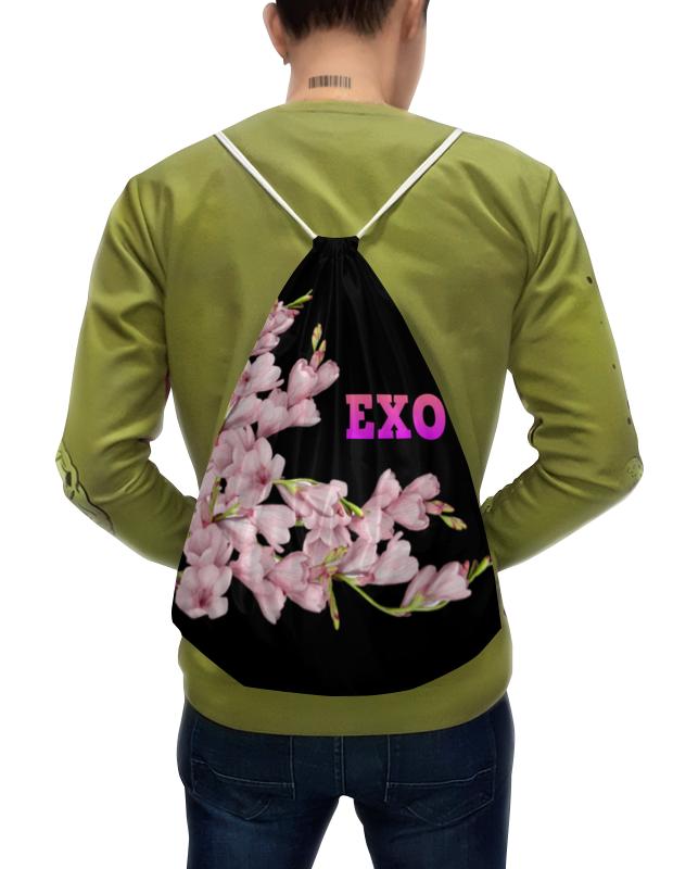 Printio Рюкзак-мешок с полной запечаткой Exo розовые цветы