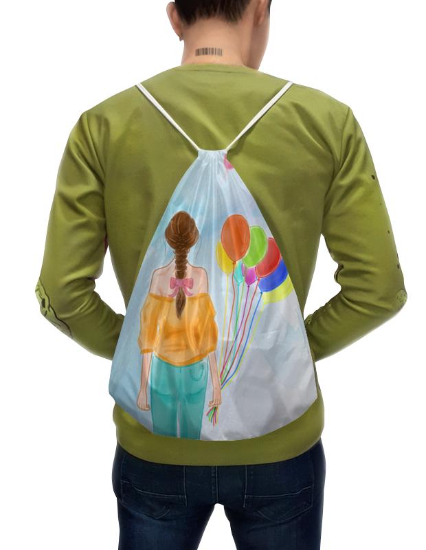 Фото - Printio Рюкзак-мешок с полной запечаткой Девушка с воздушными шарами printio плакат a3 29 7×42 модная девушка в платке фэшн иллюстрация