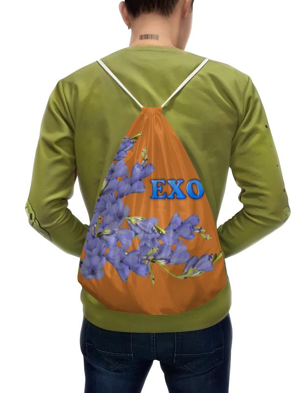 Printio Рюкзак-мешок с полной запечаткой Exo синие цветы
