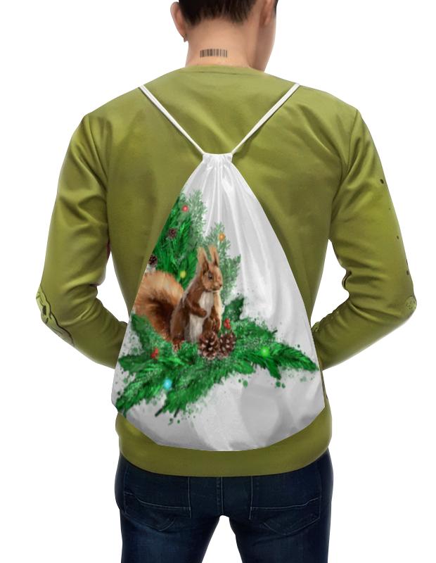 Printio Рюкзак-мешок с полной запечаткой Белочка с шишками на елке. printio свитшот мужской с полной запечаткой белочка с шишками на елке