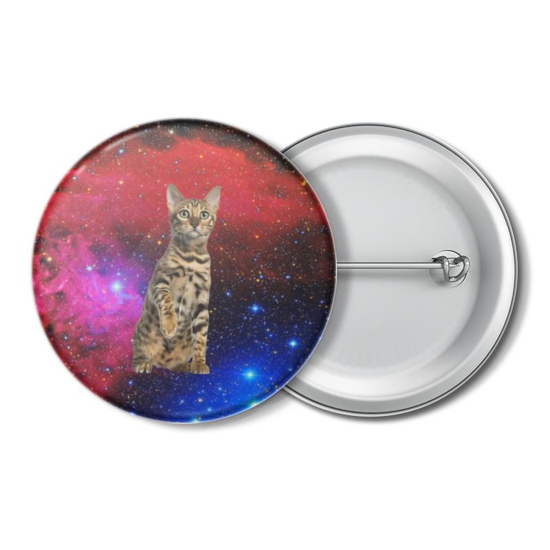Printio Значок кот в космосе printio значок кот и звезды