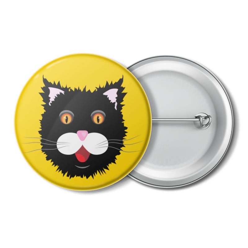 Printio Значок Мохнатый черный кот printio значок кот и звезды