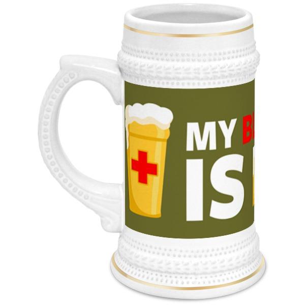 Printio Кружка пивная Моя группа крови пиво