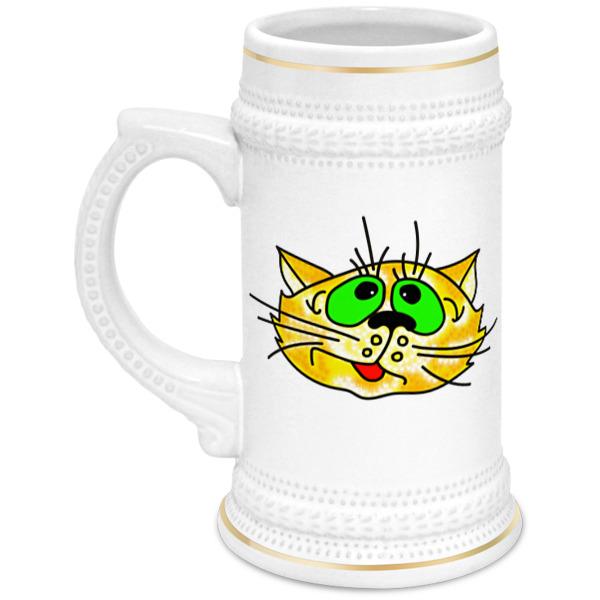 Printio Кружка пивная Довольный кот
