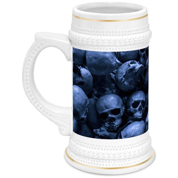 кружка пивная printio череп весёлый арт Printio Кружка пивная Red skull