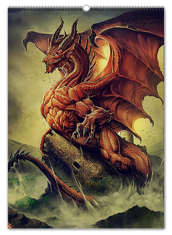 Printio Перекидной Календарь А2 Драконы фэнтези