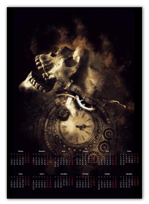 Printio Календарь А2 Череп с часами