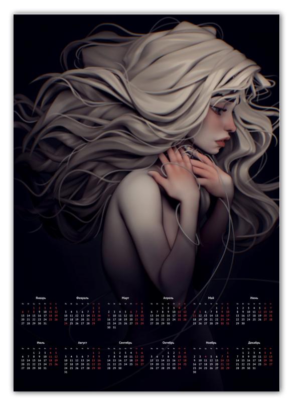 Printio Календарь А2 Девушка-призрак printio календарь а2 рождество