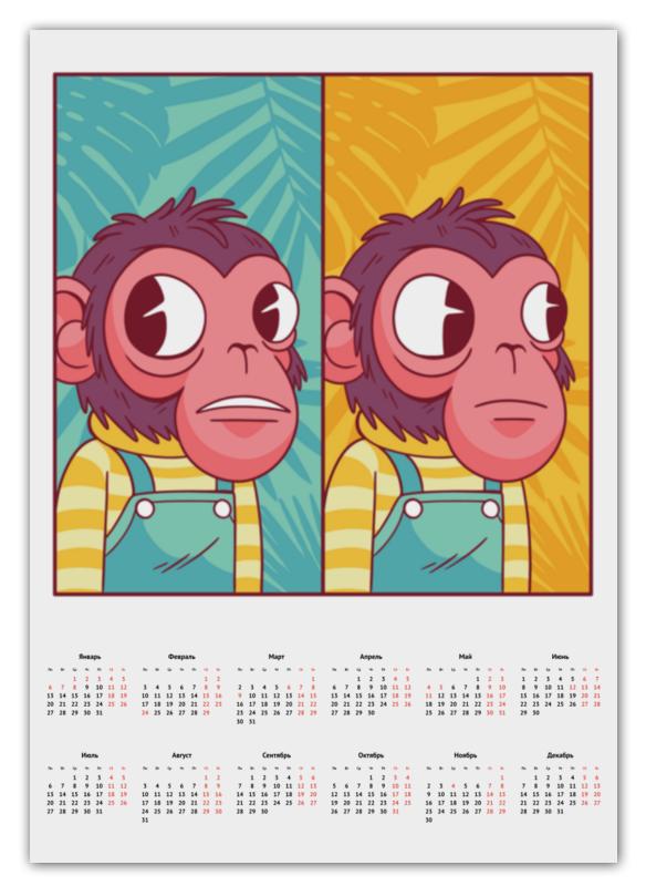 Printio Календарь А2 Мем с обезьяной