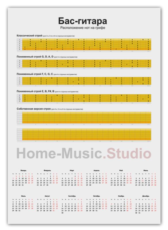 Printio Календарь А2 Бас-гитара: расположение нот на грифе