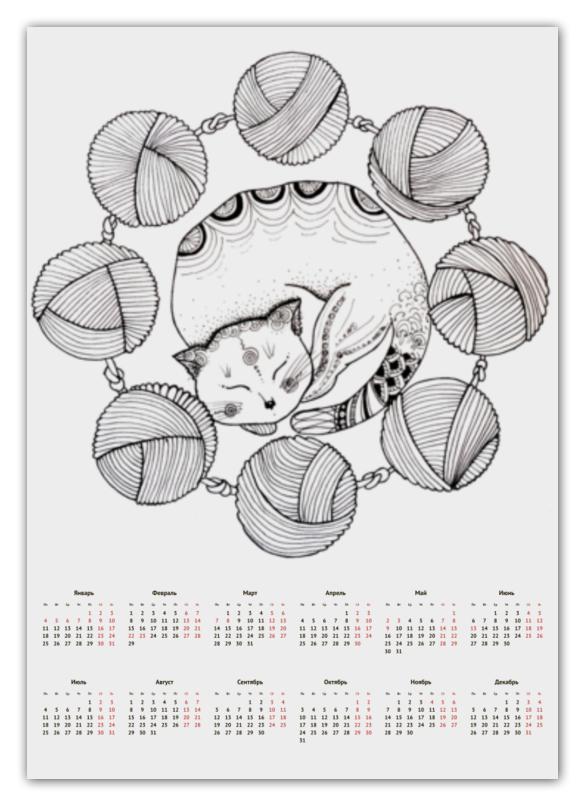 Printio Календарь А2 Обернусь я белой кошкой...