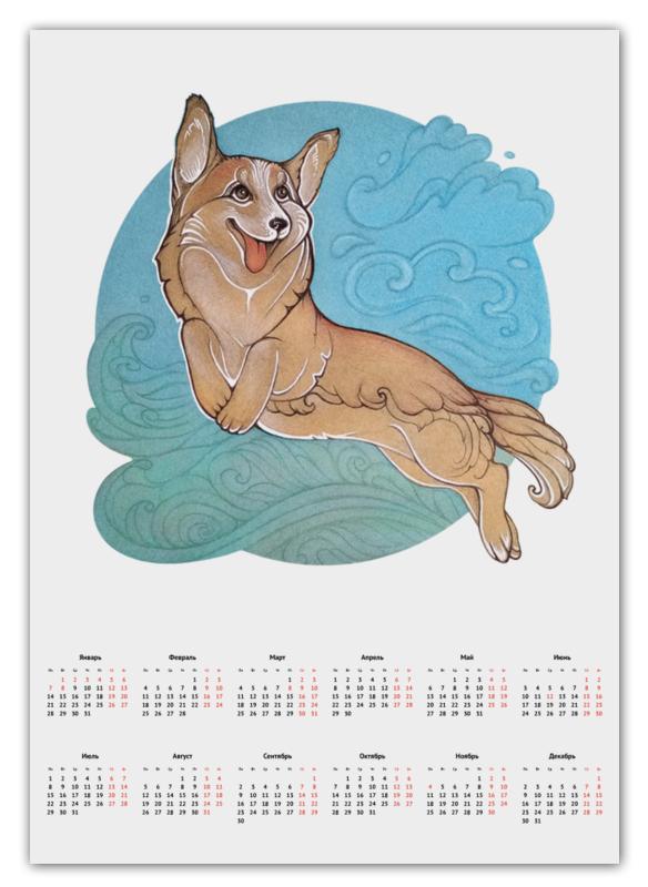 Printio Календарь А2 Корги в облаках
