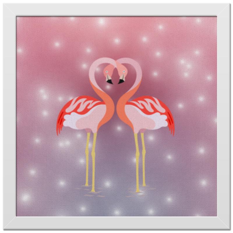 Printio Холст 30×30 Влюбленные фламинго