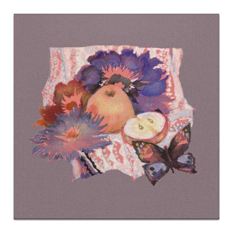 Printio Холст 30×30 Цветы, яблоки и бабочка. printio холст 30×30 бабочка