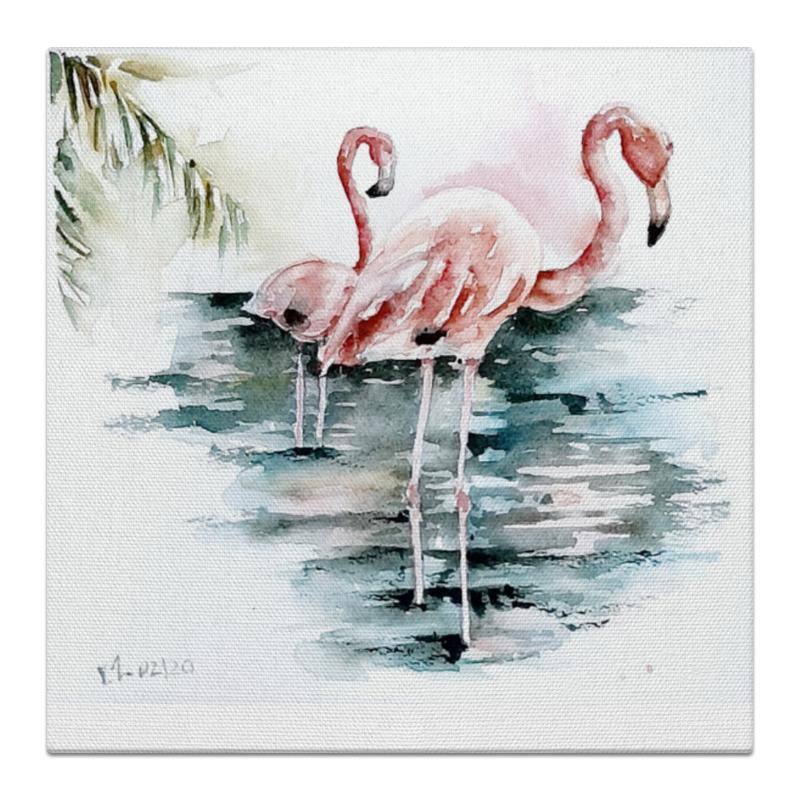 Printio Холст 30×30 Акварельные фламинго