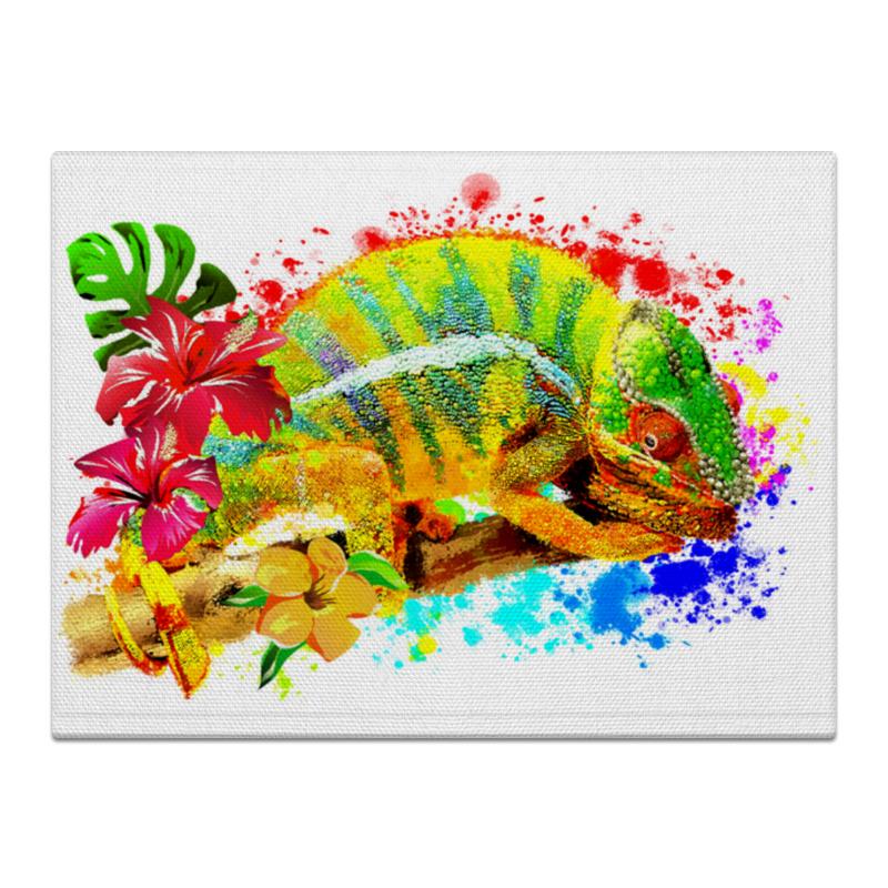 Printio Холст 30×40 Хамелеон с цветами в пятнах краски.