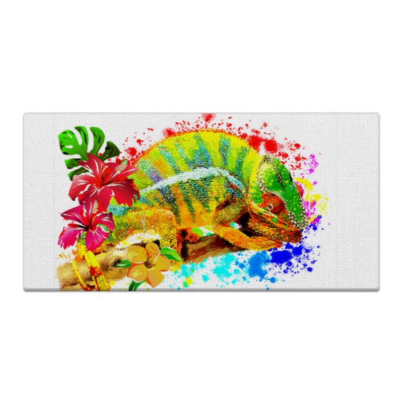 Printio Холст 30×60 Хамелеон с цветами в пятнах краски.