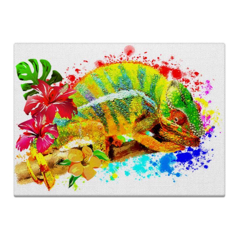 Printio Холст 40×55 Хамелеон с цветами в пятнах краски.