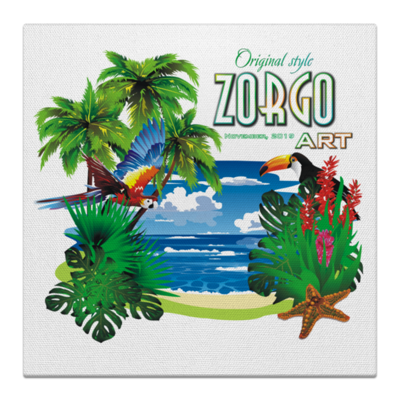 Printio Холст 50×50 Тропические птицы от зорго арт.