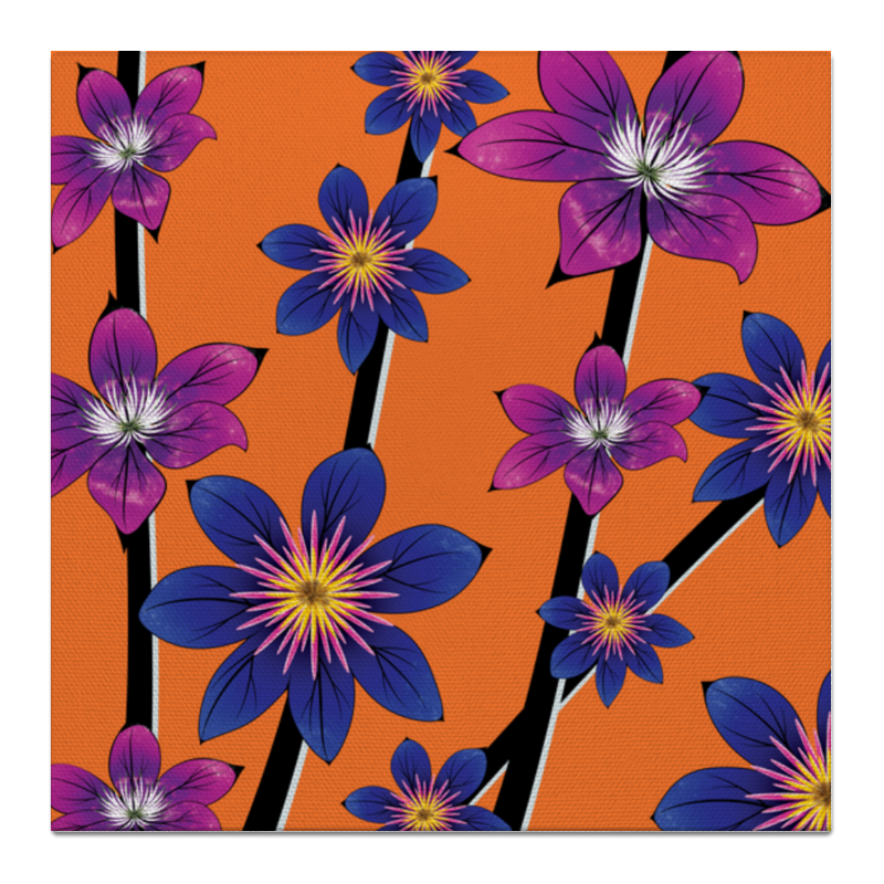 Printio Холст 50×50 Синие цветы недорого