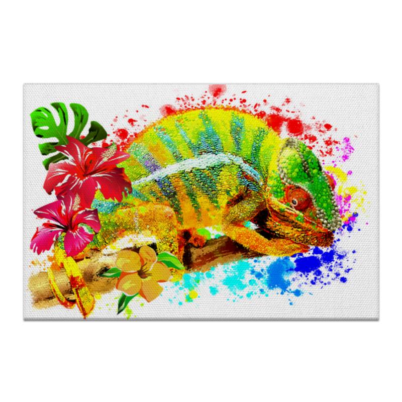 Printio Холст 50×75 Хамелеон с цветами в пятнах краски.