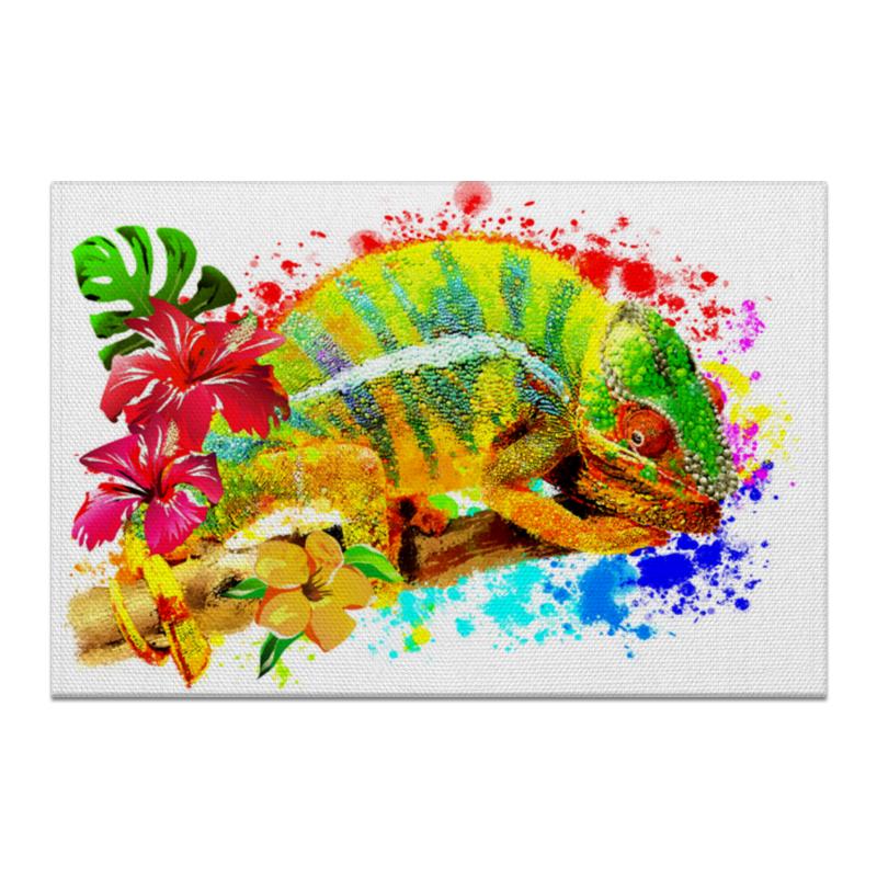 Printio Холст 60×90 Хамелеон с цветами в пятнах краски.