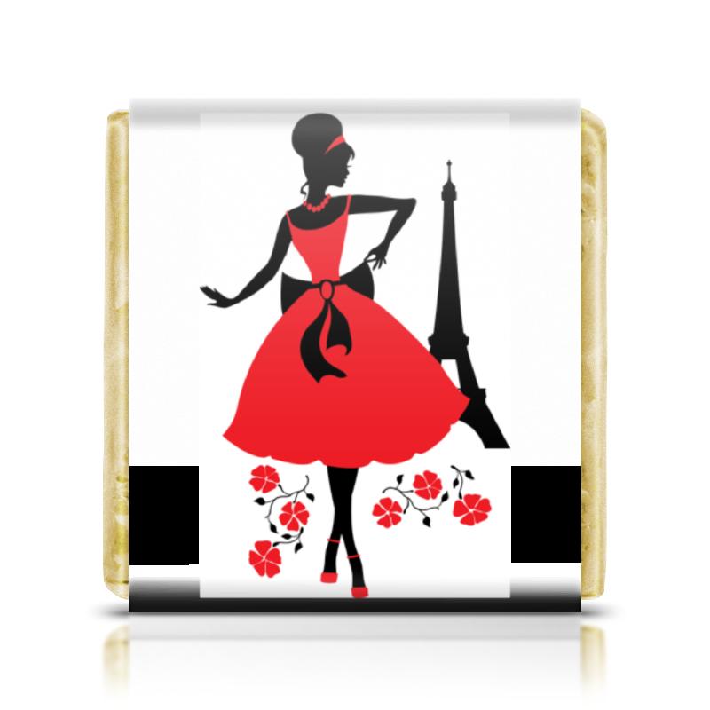 Printio Шоколадка 3,5×3,5 см Красивая девушка в париже