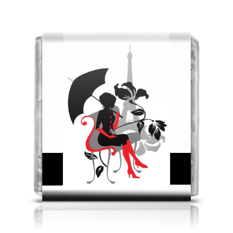 Printio Шоколадка 3,5×3,5 см Красивая девушка под зонтиком. силуэт (eszadesign)