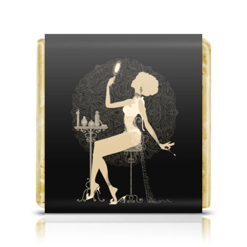 Printio Шоколадка 3,5×3,5 см Красивая девушка с зеркалом силуэт eszadesign