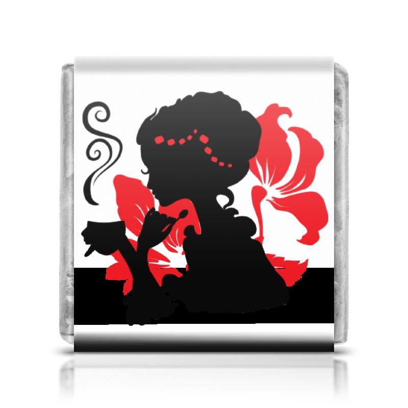 Printio Шоколадка 3,5×3,5 см Красивая девушка с чашкой чая. силуэт (eszadesign)