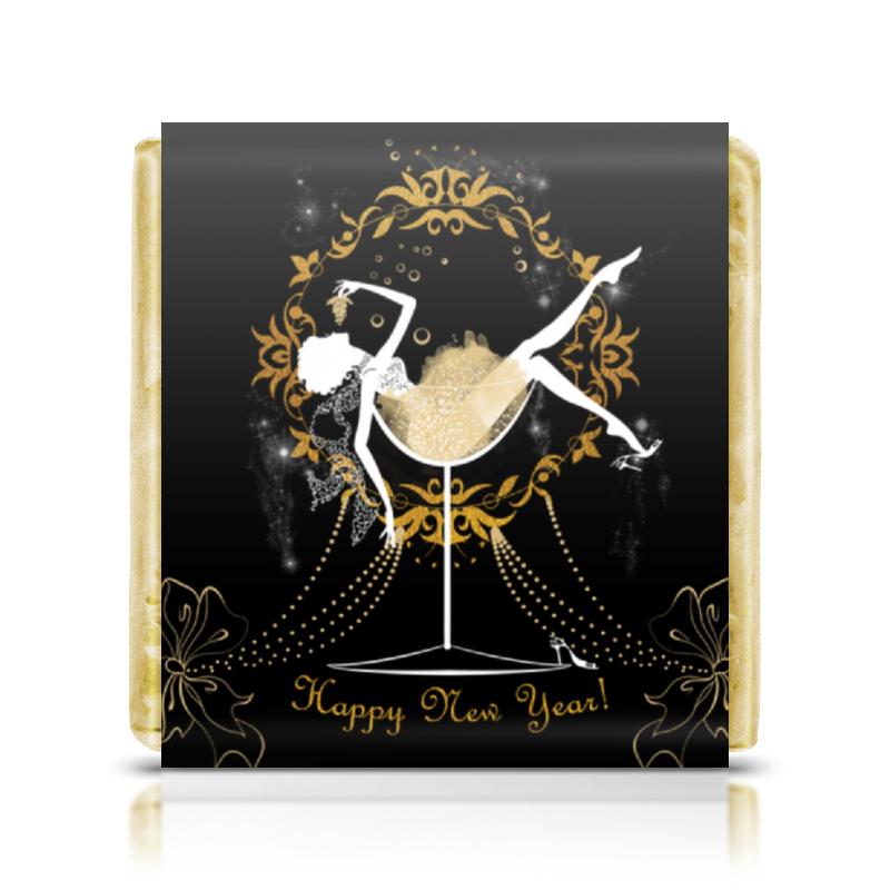 Printio Шоколадка 3,5×3,5 см Красивая девушка в бокале с шампанским