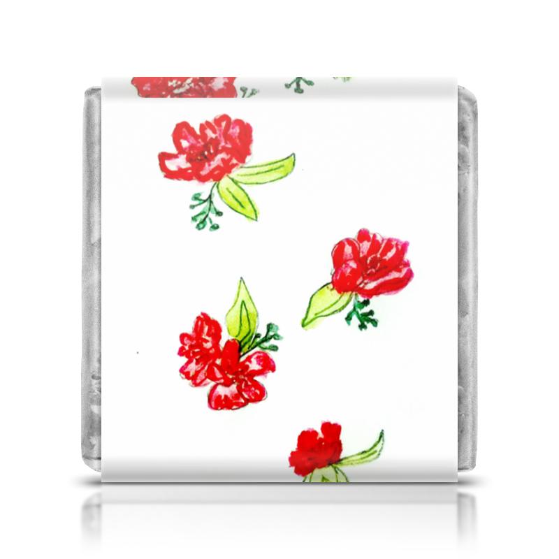 Printio Шоколадка 3,5×3,5 см Шоколадка красные цветы
