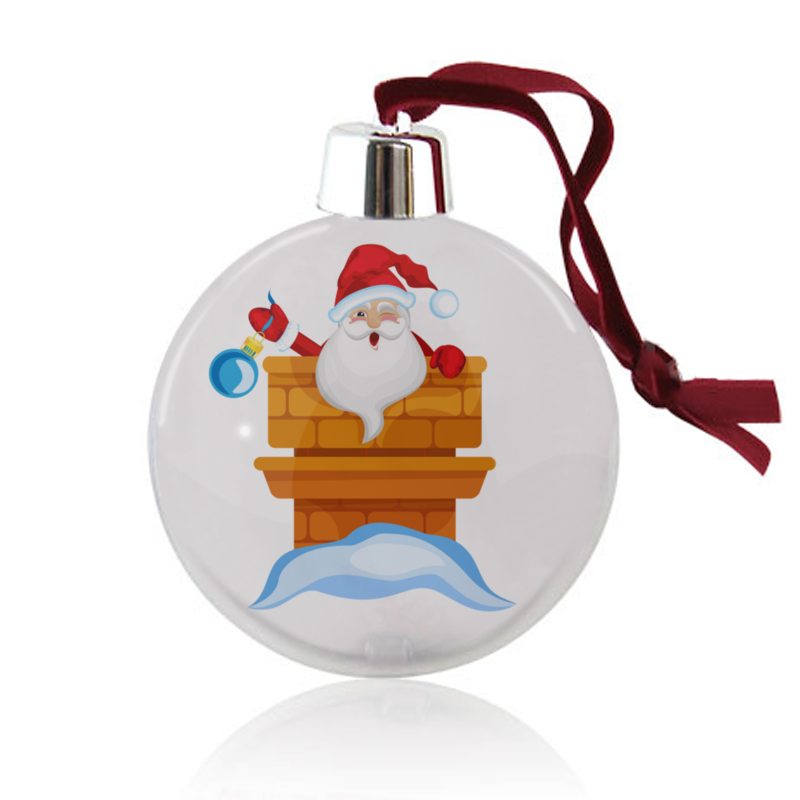 Printio Ёлочный шар Дед мороз выглядывает из печной трубы