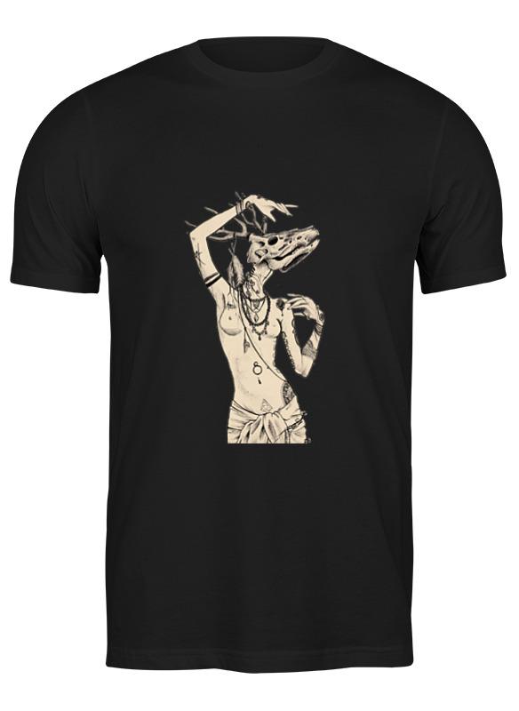 Printio Футболка классическая Девушка с черепом оленя