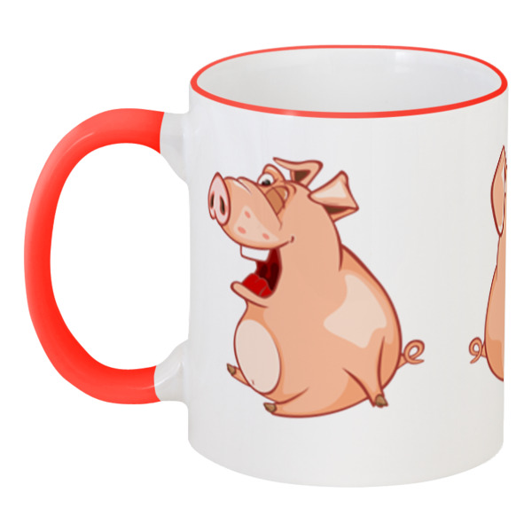 Printio Кружка с цветной ручкой и ободком Прикольные свиньи